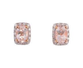 9ct Rose Gold Morganite & Diamond Cluster Earrings