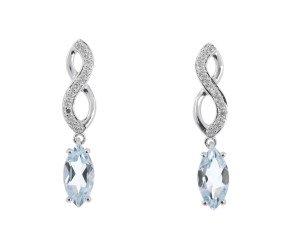 9ct White Gold 0.75ct Aquamarine & Diamond Infinity Drop Earrings