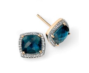 9ct Yellow Gold London Blue Topaz & Diamond Earrings
