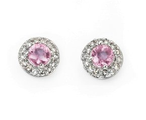 9ct White Gold Pink Sapphire & Diamond Earrings