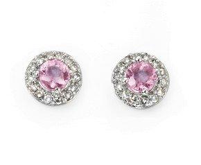 9ct White Gold Pink Sapphire & Diamond Earrings