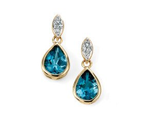 9ct Gold London Blue Topaz & Diamond Drop Earrings