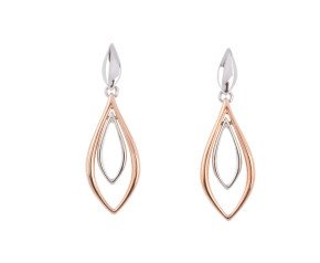 9ct Rose & White Gold Drop Earrings