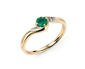9ct Gold Emerald & Diamond Dress Ring