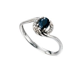 9ct White Gold Sapphire & Diamond Dress Ring