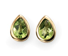 9ct Gold Peridot Solitaire Earrings