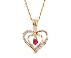 9ct Gold Ruby & Diamond Heart Pendant