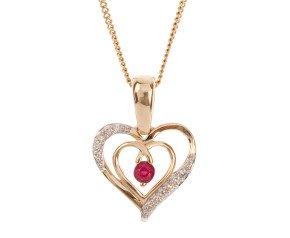 9ct Gold Ruby & Diamond Heart Pendant