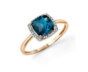 9ct Gold London Blue Topaz & Diamond Halo Ring