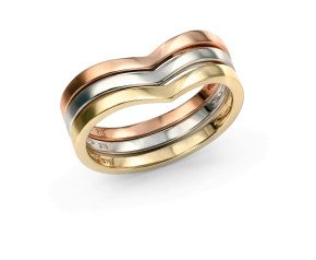 9ct Rose, White & Yellow Gold Stacking Rings