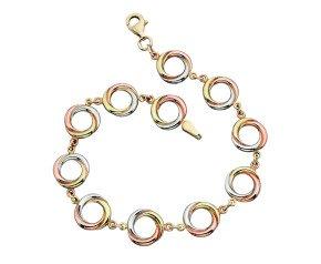 9ct Rose, White & Yellow Gold Bracelet