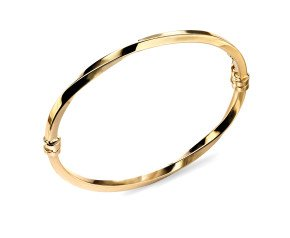 9ct Gold Twisted Hinge Bangle