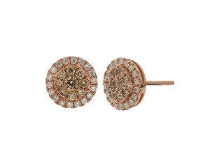 18ct Rose Gold 1.00ct Champagne & Colourless Diamond Cluster Earrings