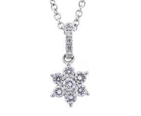 18ct White Gold 0.30ct Diamond Flower Pendant