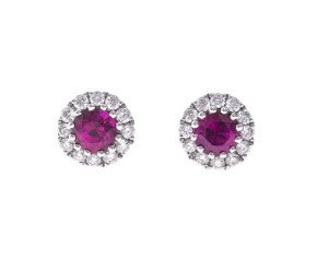 18ct White Gold Ruby & Diamond Earrings