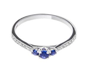 18ct White Gold Sapphire & Diamond Dress Ring
