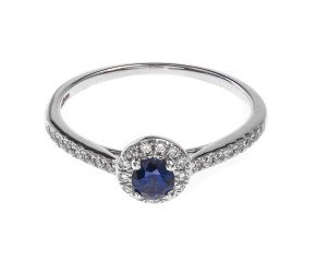 18ct White Gold 0.33ct Sapphire & Diamond Halo Ring