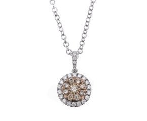 18ct White Gold 0.50ct Champagne & Colourless Diamond Cluster Pendant