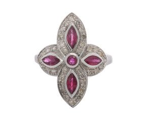18ct White Gold Ruby & Diamond Dress Ring