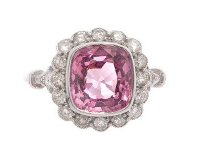 2.92ct Fancy Pink Sapphire & Diamond Ring