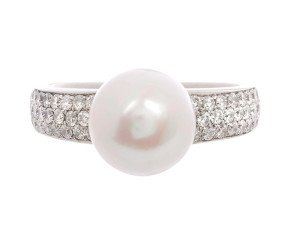 10mm Pearl & 0.85ct Diamond Dress Ring