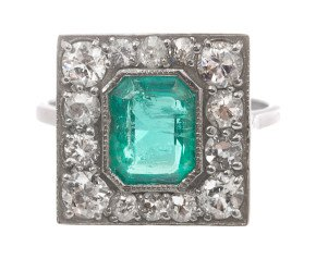 1.40ct  Emerald & Diamond Ring