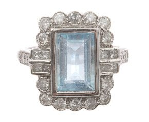 2.52ct Aquamarine & Diamond Ring