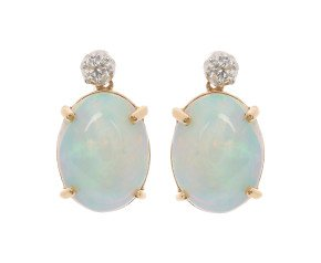 18ct Gold 6.00ct Opal & Diamond Earrings