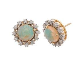 6.00ct Opal & Diamond Earrings
