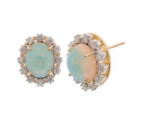 18ct Gold 4.00ct Opal & Diamond Earrings