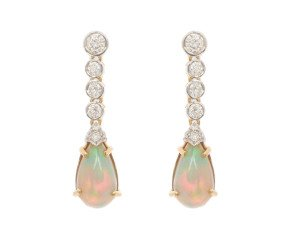 18ct Gold 4.00ct Opal & Diamond Drop Earrings