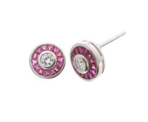 0.34ct Diamond & Ruby Halo Stud Earrings