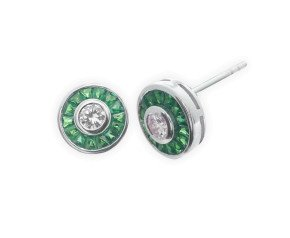 0.34ct Diamond & Emerald Halo Stud Earrings