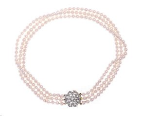 Vintage 18ct Gold Three Strand Pearl Necklace With 1.40ct Diamond Clasp