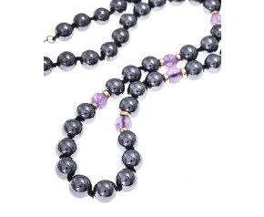 Pre-Owned Haematite & Amethyst Bead Necklace