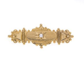 Antique Victorian 18ct Gold Diamond Brooch