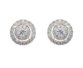 18ct White Gold 0.52ct Diamond Cluster Earrings
