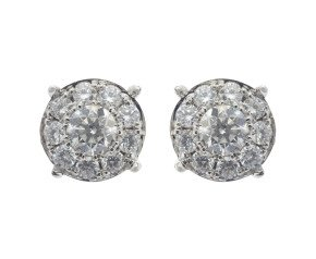 18ct White Gold 1.56ct Diamond Cluster Earrings