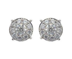 18ct White Gold 1.56ct Diamond Cluster Earrings