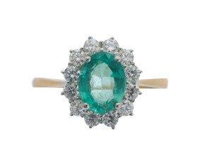 18ct Gold 1.46ct Emerald & Diamond Ring