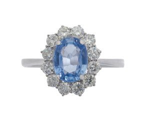 18ct White Gold 1.60ct Sapphire & Diamond Ring