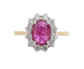 18ct Gold 0.95ct Ruby & Diamond Ring