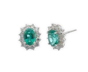 18ct White Gold 1.32ct Emerald & Diamond Earrings