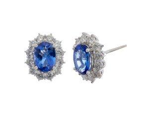 18ct White Gold 2.38ct Tanzanite & Diamond Earrings