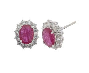 18ct White Gold 1.88ct Ruby & Diamond Earrings