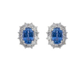 18ct White Gold 1.28ct Sapphire & Diamond Cluster Earrings