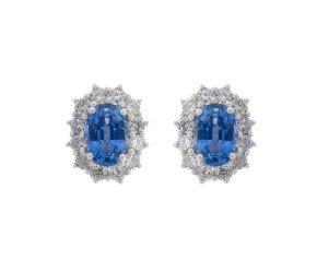 18ct White Gold 1.28ct Sapphire & Diamond Earrings