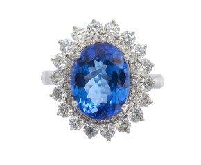 4.57ct Tanzanite & Diamond Double Cluster Ring