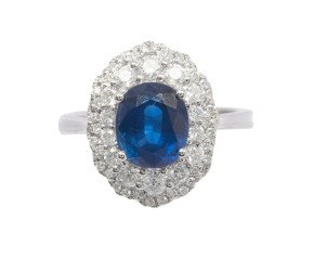 18ct White Gold 2.90ct Sapphire & Diamond Cluster Ring