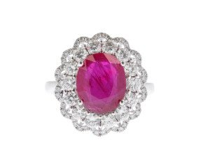 18ct White Gold 3.54ct Ruby & Diamond Cluster Ring